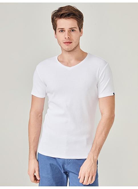 MCL V Yaka Tişört Beyaz